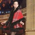 Women Cardigan 2016 Winter Faux Fox Fur Collar Knitted Cashmere Plaid Poncho Faux Bridal Wedding Shawl Vintage Wool Coat Cloak
