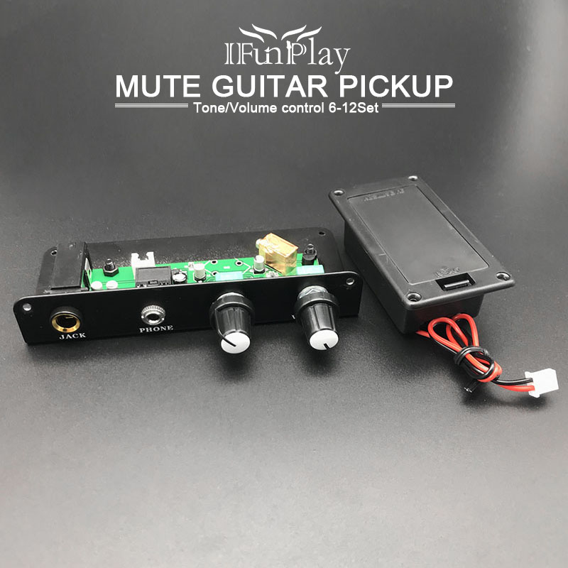 Capable 6 Set Active Mute Guitar Pickup 3.5 Mm Output Plug Pickup With 9v Battery Box Black Silent Guitarra Accessories Providing Amenities For The People; Making Life Easier For The Population