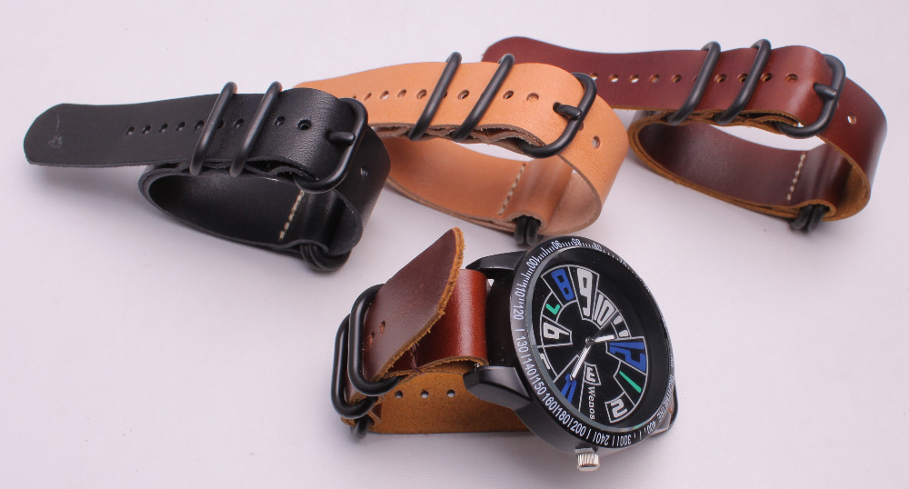 где купить 18~24 mm Italian plant tanned crazy horse oil wax cowhide genuine leather Black buckle Watch band Watch band watch strap 4PCS по лучшей цене