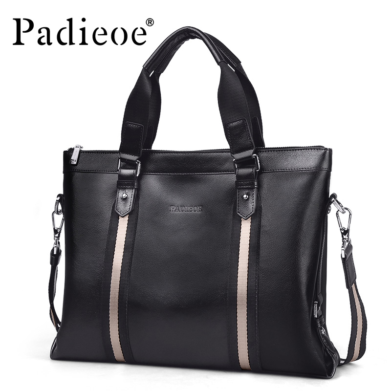 Padieoe Fashion Luxury Men Bag Business Men Briefcase Laptop Handbag Genuine Leather Shoulder Bags padieoe luxury men bag split leather classic business men briefcase laptop bags brand handbag