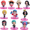 Free shipping 10pcs/set Japan anime one piece Q version Luffy Zoro Nami  pvc figure toys
