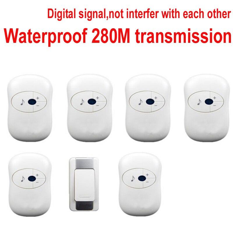 1 emitter+6 receivers doorbell Waterproof 280m work wireless doorbell,wireless door chime,wireless bell, 36 melodies door bell wireless