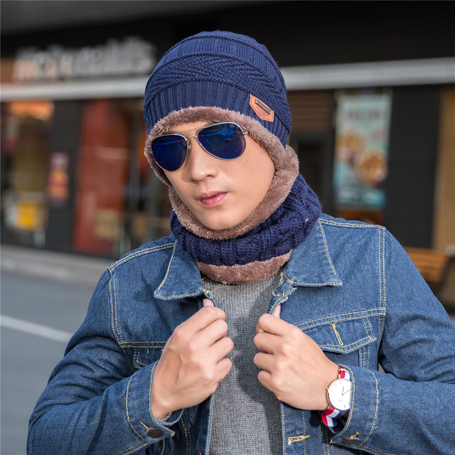 New men warm winter knitting and wool hat collar Man hat in winter