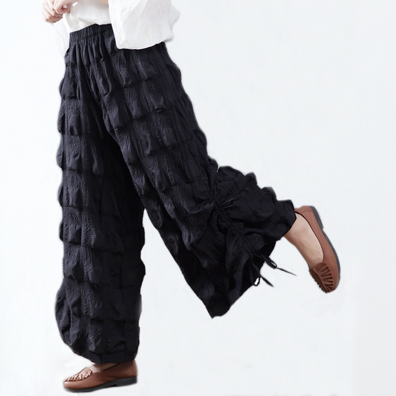 Plus Size Fashion Pants 2018 Summer Loose Pants Women Cotton Trousers Pleated Wide Leg Pants alfred dunner women s wide leg pants 18w multi