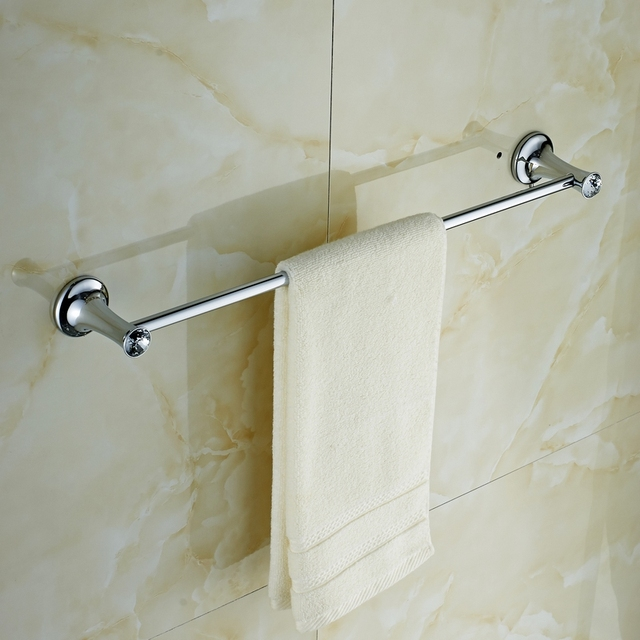 Banheiro Single Towel Bar ,Silver Crystal Solid Brass towel holder ...