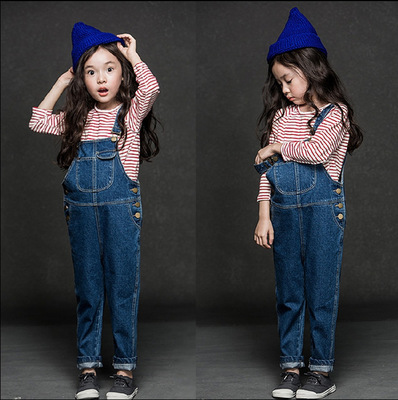 2016 kids jeans children's clothes baby pants overalls jumpsuits for toddler / infant boys girls straps trousers