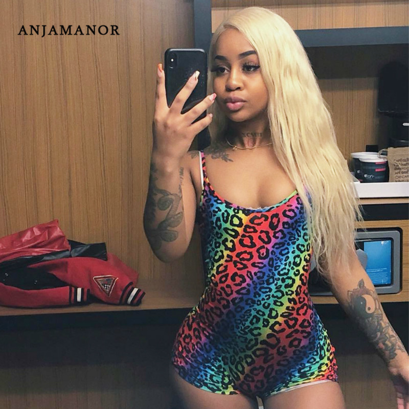 ANJAMANOR Rainbow Leopard Sexy Playsuit Rompers Jumpsuit Summer Clothes for Women