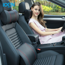 LOEN 3D Genuine Leather Auto Car Seat Memory Foam Pillow Headrest Lumbar Support for Universal Car Black/Brown/Beige 4 Seasons