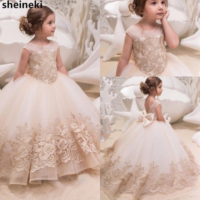 52d3d180f46 2019 New Jewel Tulle Applique Lace Flower Girl  Dresses Little Girls   Bridal Elegant Short Sleeves Wedding Party Dresses Custom