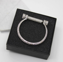 New Design Luxury Crystal Horseshoe Cuff Bracelets women Rhinestones Pulseira Feminina Screw Bangles Arm bijou brassard