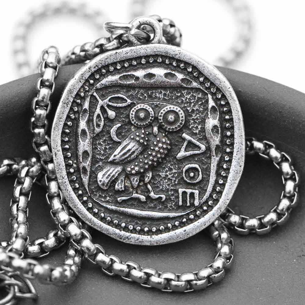 Vintage Owl Coin Necklace Man Women Greek Pendant Retro-Roman Jewelry Dropships