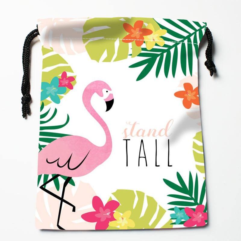 High Quality Custom Flamingo Printing Storage Bag Drawstring Bag Gift Satin Bags 27x35cm Compression Type Bags