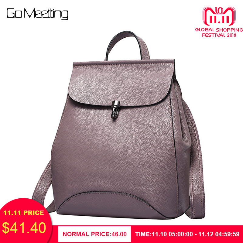 купить Go Meetting Genuine Leather Women Backpack Female Brand Fashion School Backpacks Elegant Travel Shoulder Bag Rucksack Sac a dos по цене 2619.49 рублей
