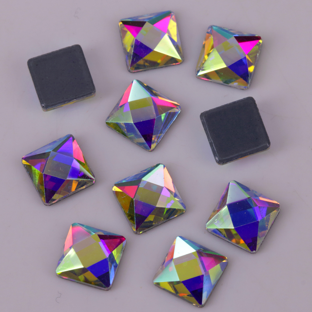 67f2e33425 US $2.85 22% OFF Lead Free 6mm Crystal AB Faceted Square Iron On Crystal  Stones / Flat Back Hotfix Rhinestones-in Rhinestones from Home & Garden on  ...