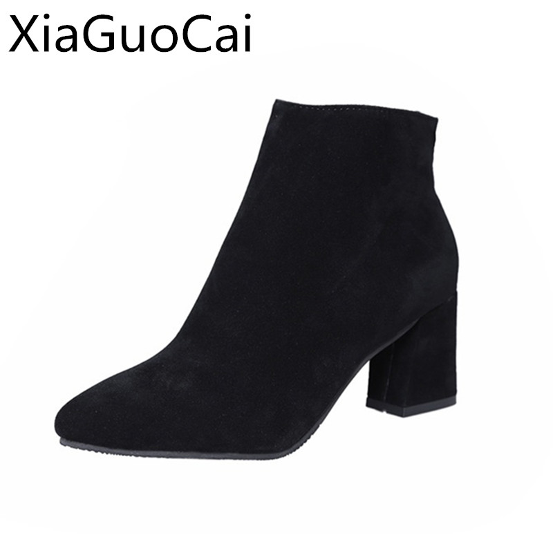 Plus Size 35-44 High Quality Fashion Winter Womans Boots Solid Flock Square Heels Snow Boots for Ladies Elegant Ankle BootsPlus Size 35-44 High Quality Fashion Winter Womans Boots Solid Flock Square Heels Snow Boots for Ladies Elegant Ankle Boots