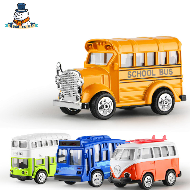 Quanpapa 1 36 Metal Pull Back Car Model Volkswagen Bus Double Decker School Toys For Children High Quality Gift