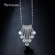 NEWBARK Lovely Crown Design CZ Diamond Paved Waved Pendant Necklace Bar Chain Silver Color White Gold Plated Christmas Gifts