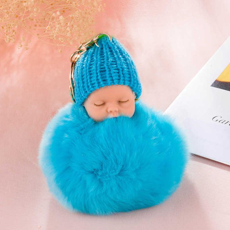 ZOEBER Falsa Pele De Coelho Bola Pompom Keychain Car Chaveiro Chaveiro Bebê Dormir Baby Doll Mulheres Saco Chave Titular Pingente jóias