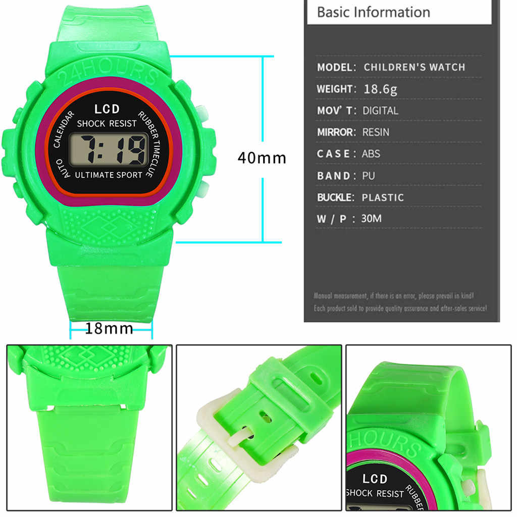 אופנה גברים נשים מקרית ספורט שעונים LED אלקטרוני עמיד למים דיגיטלי צבעים בוהקים סיליקון שעון יד לילדים ילדים #09