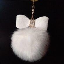 Leather Bowknot+ 8cn Golden Keychain Fake Rabbit Fox Fur Brand Bag Keychain Pom pon Car Keyring Charms Pompom Key rings