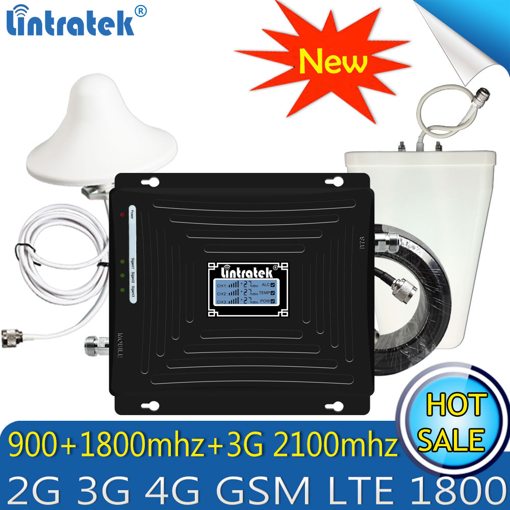 Upgraded Lintratek 2G 3G 4G GSM Repeater 900 1800 2100 Tri-Band Cell Phone Signal Booster LTE Cellular Mobile Signal Amplifier