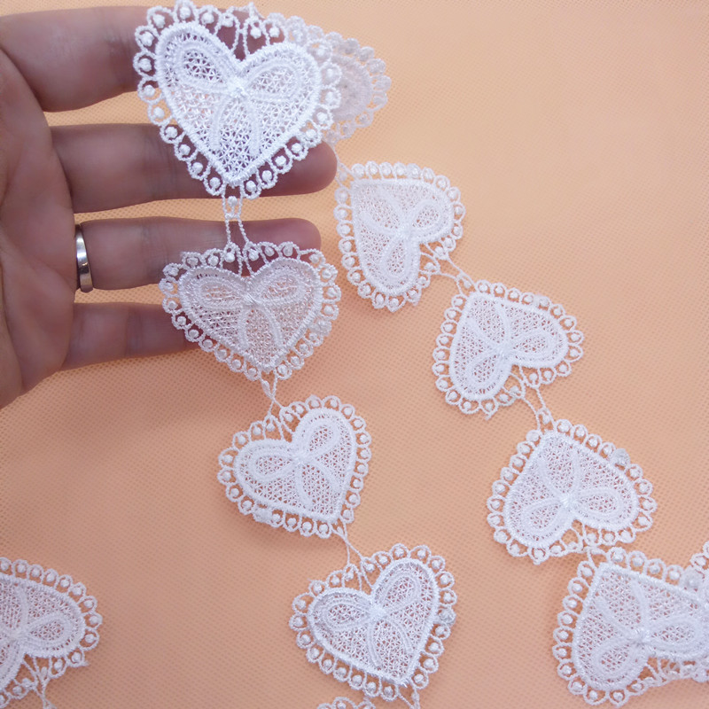 36pcs/2yards per lot ivory embroidery Polyester water soluble peach heart lace Applique trim for DIY decoration