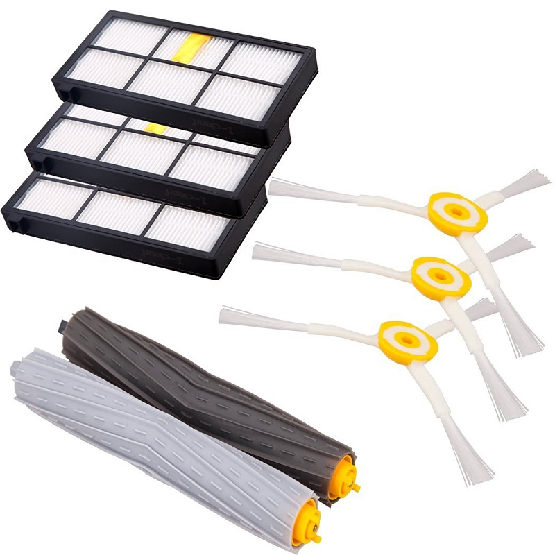 (Ru Warehouse) 1 set Tangle-Free Debris Extractor Brush +3Hepa filter + 3side brush for iRobot Roomba 800 900 Series 870 880 980 cobra ru 880