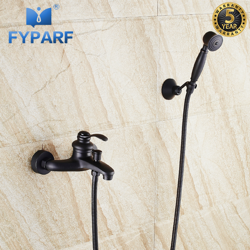 FYPARF Brass Bathroom Black Shower Faucets Single Handle Wall Mounted Hand Held Shower Head Bathroom Shower Set Bath Mixer Taps zgrk brass black bath shower faucets rain shower head bathroom shower set diverter mixer valve shower system wall mounted