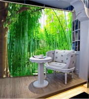 Custom Any Size Luxury European Modern Green Forest 3d Curtain Blackout Curtains For Bedroom