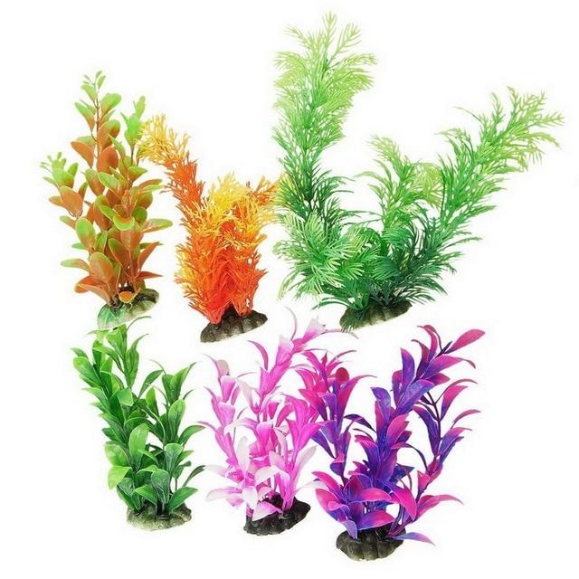 6 Pieces Freshwater Multicolor Aquarium Plastic Plant With Suction Cup
