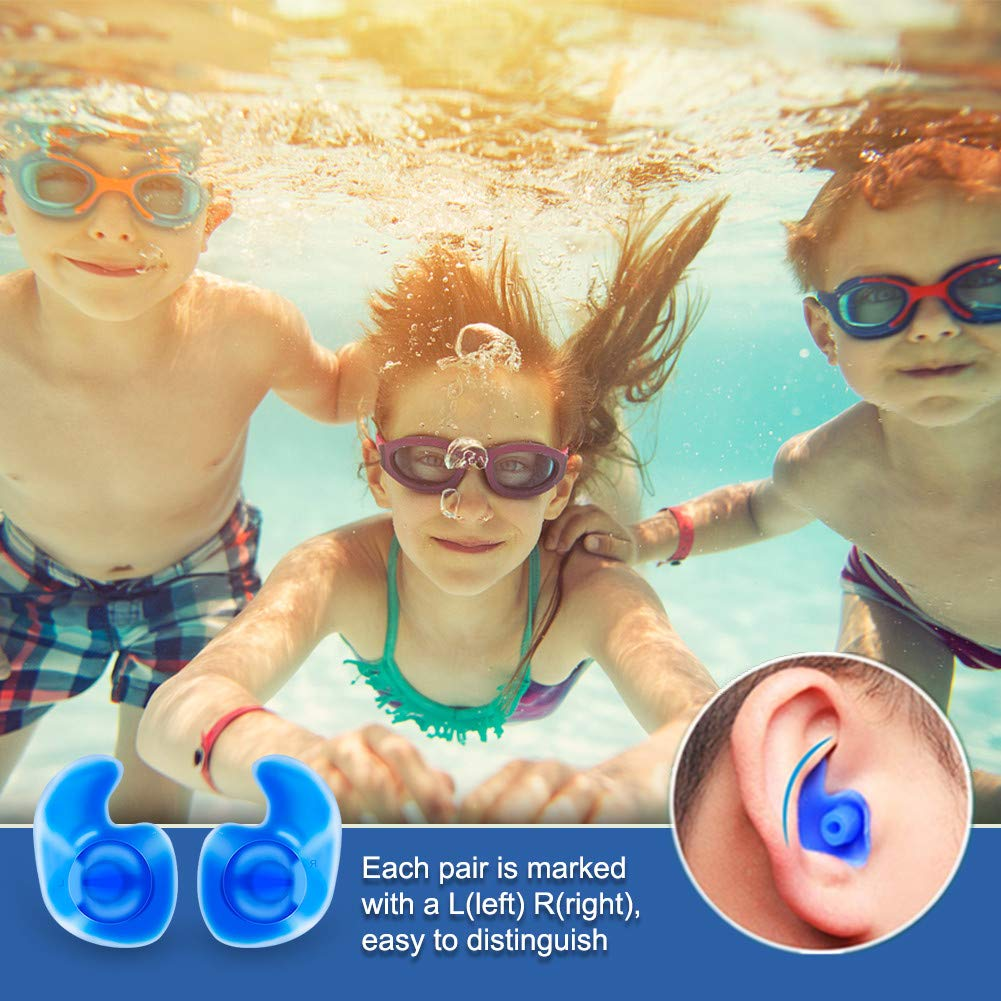 Swim Ear Plugs Adults with Storage Case Silicone Waterproof Earplugs for Swimming Diving Showering Surfing Bathing Water Sports in Nose Ear Clips from Sports Entertainment