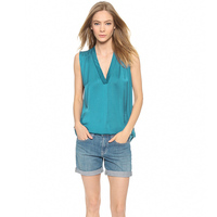 2015 Summer Sexy Chiffon Blouse Fashion Women Solid Green Deep V Neck Sleeveless Loose Pleated Blouse