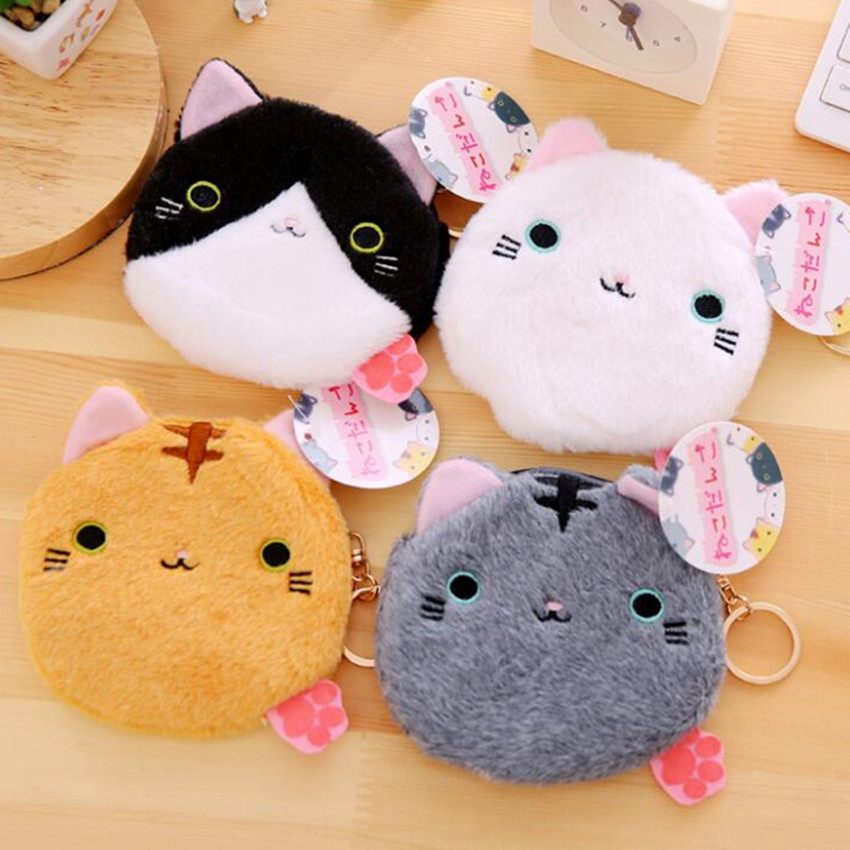 M344 Cute Women Purses Plush Cartoon Creative An Association Cat Coin Bag Purse Women Student Girl Gift Wholesale