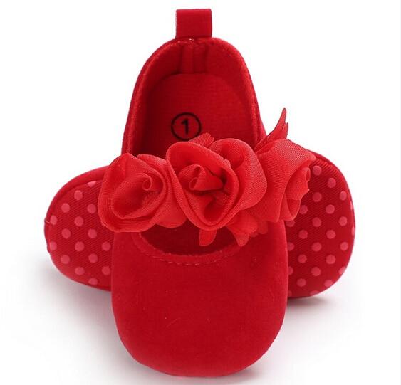 Lovely Toddler Baby Girl Flower Crib Shoes Princess Newborn Soft Red White Prewalker Non-slip Kids Soft Sole Shoes