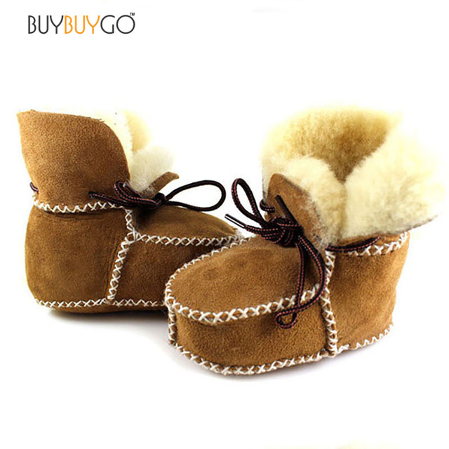 Fashion Wool Baby Moccasins First Walkers Baby Girl Boy Shoes Fur Soft Bottom Baby Shoes Winter Warm Genuine Leather Baby Boots