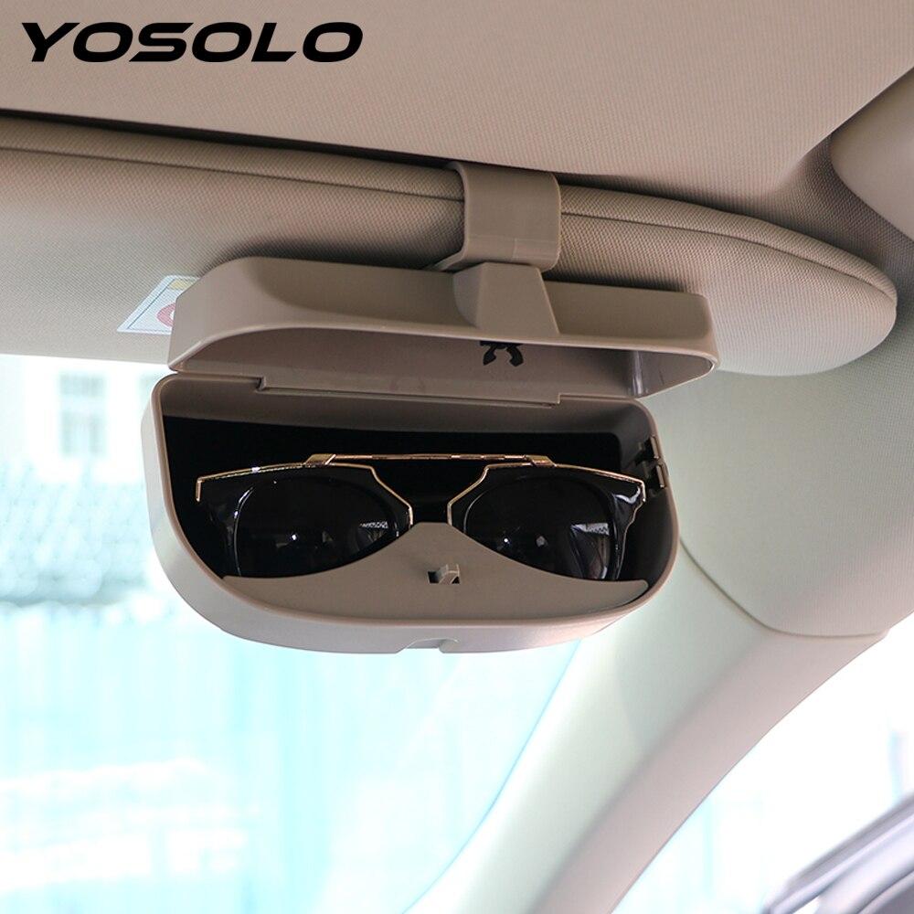 955d186afd YOSOLO funda para gafas de coche con soporte para gafas de sol y soporte  para tarjetas organizador para almacenamiento de visera de sol accesorios  para Auto