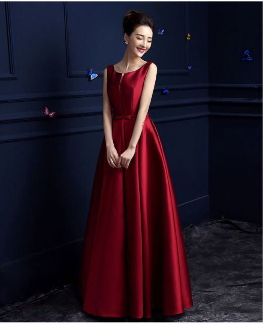 Elegant Burgundy Evening Long Dresses Satin Gown Prom Formal Dress 2017  Simple Elegant Formal Party Banquet Vestidos Longo BK201 e25be8e10106