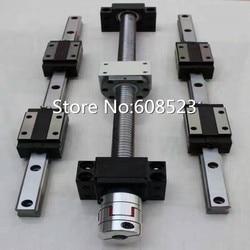 6 zestaw HB20 450/950/1450mm szyna liniowa prowadnica liniowa + 4 śruba pociągowa RM1605 500/1000/1500/1500 mm + 4 zestaw BK/BF12 wsparcie koniec łożyska + 4 sprzęgła/złącza| |   -
