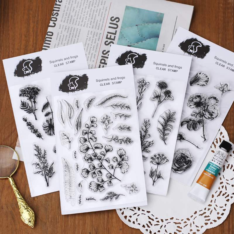 WOKO Vintage Flower Fern Leaves Retro Plants Transparent Clear Silicone Seal Stamp DIY Scrapbooking Card Making Album Dairy Book