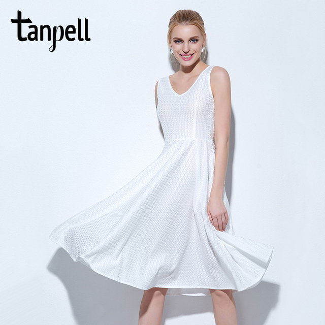 Tanpell scoop short homecoming dress cheap white knee length bow a ...