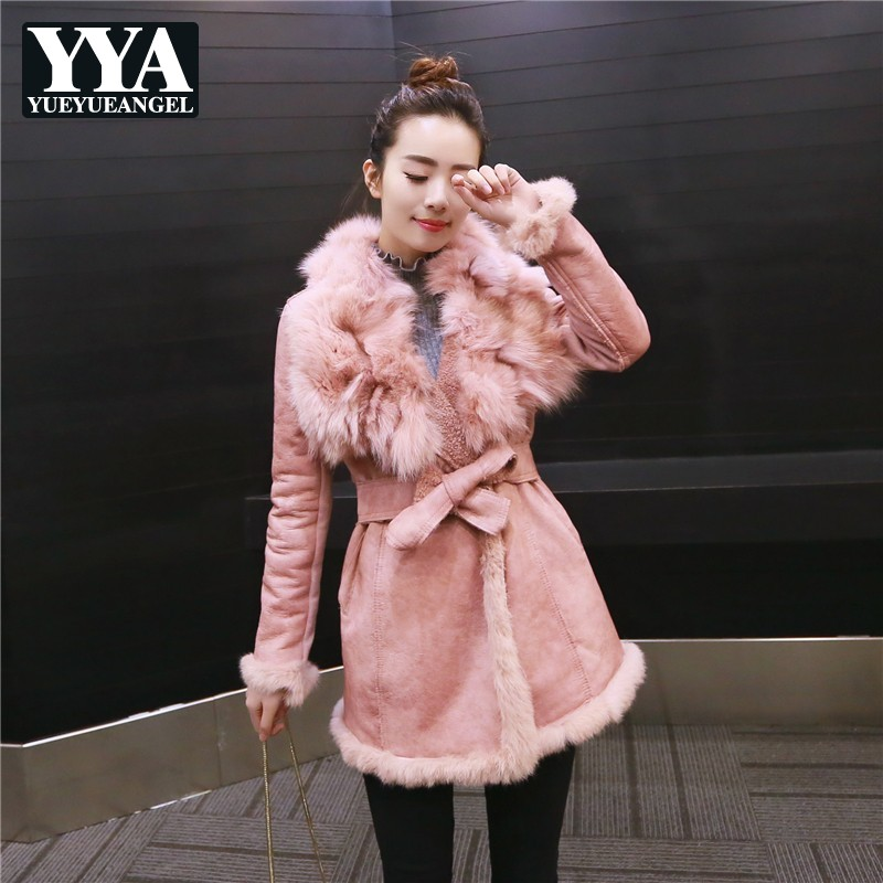 Belt Luxury Jacket Women Fashion Fox Fur Collar Jackets 2019 Winter Slim Faux   Leather     Suede   Zipper Sashes Jacket Lady Outerwear