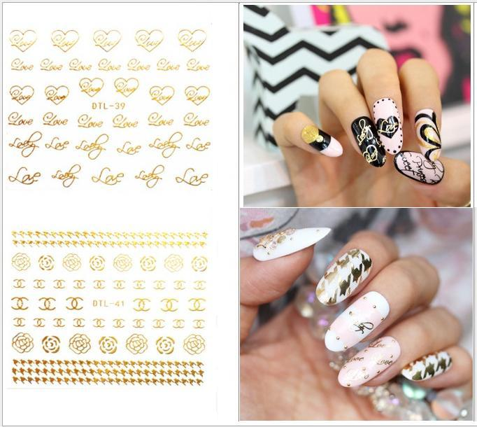 2017 Glitter Gold Nail Art Water Transfer Foil Stickers Decals Brand Logo Crown Flower Designs Metallic Tips In From Beauty