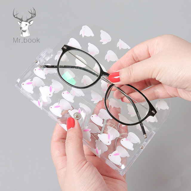 Kawaii Cartoon Transparent Plastic Eye Glasses Protector Case Metal Button Sunglasses Box Fruit Animal Pencil Case Storage Bag