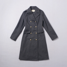 New 2016 autumn winter women fashion wool blends military coat double breasted gold color buttons slim sexy coats outerwear gray