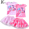 KEAIYOUHUO Girls Clothes Set 2017 Summer Tracksuit For Girls Cartoon Outfit Suit Costume For Kids Sport Suit Children Clothing