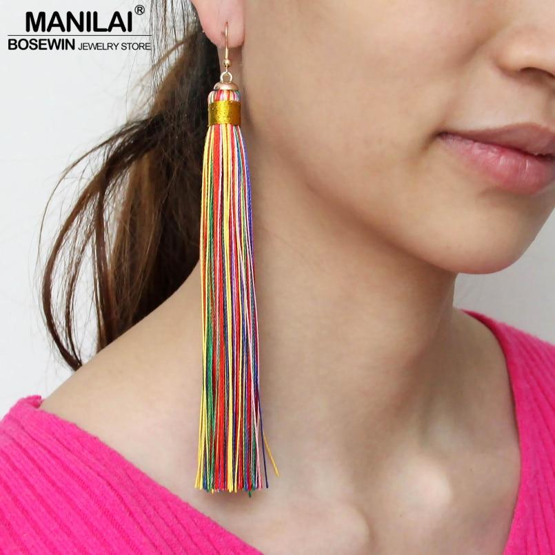 MANILAI 4 Colors Long Tassel Dangle Drop Earrings For Women Bohemia Jewelry Ethnic Earrings 2017 Simple Pendientes