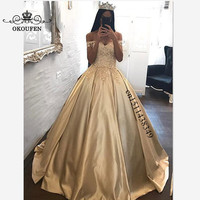 Champagne Satin Quinceanera Dresses 2019 Off Shoulder 3D Floral Appliques Lace Long Prom Dress For Girls Vestidos De 15 Anos