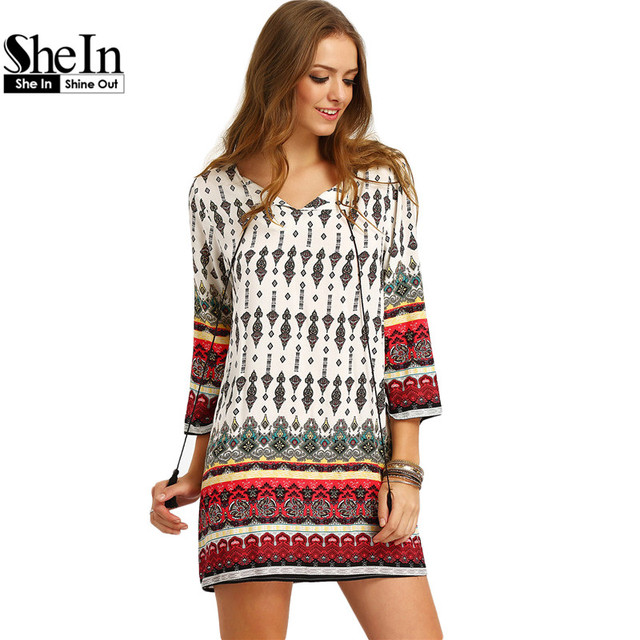 Shein mujeres bohemia dress summer casual corbata de manga larga de split cordón imprimir tribal vintage straight vestidos cortos