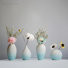 Modern Azure Blue Colorful Ceramic Flower Vase Home Decorative Craft