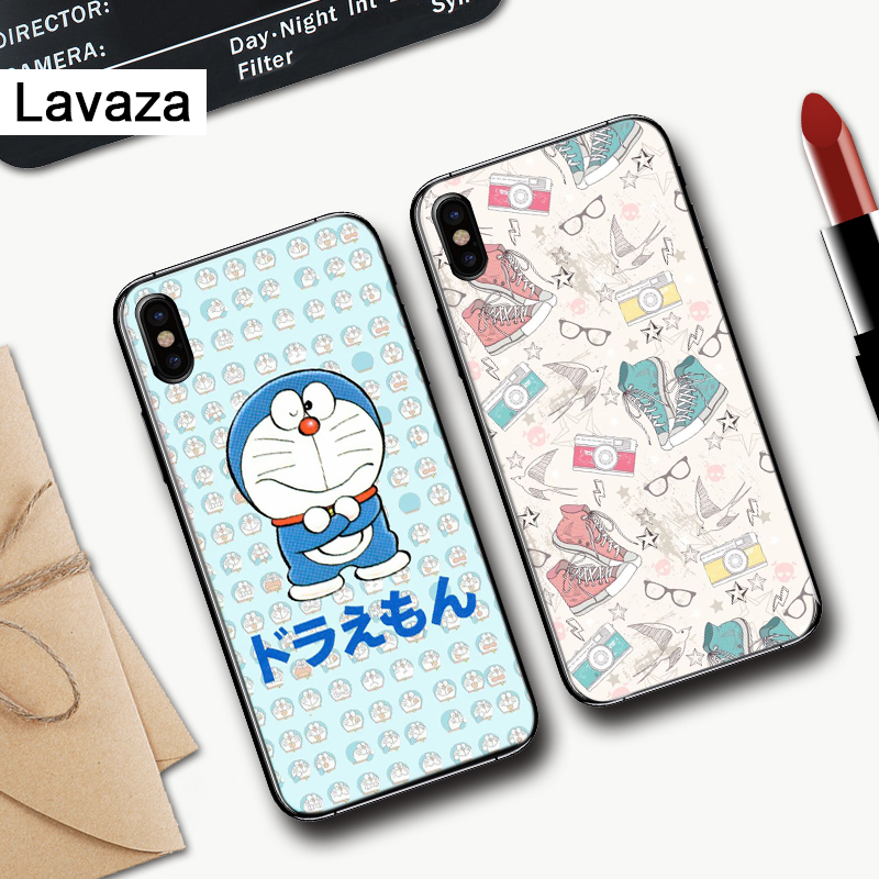 Lavaza Cute Cartoon Blue Robot Cat Silicone Case for iPhone 5 5S 6 6S Plus 7 8 11 Pro X XS Max XR in Fitted Cases from Cellphones Telecommunications